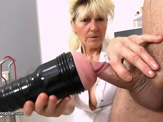 Of age Nurse Jerks Young Cock